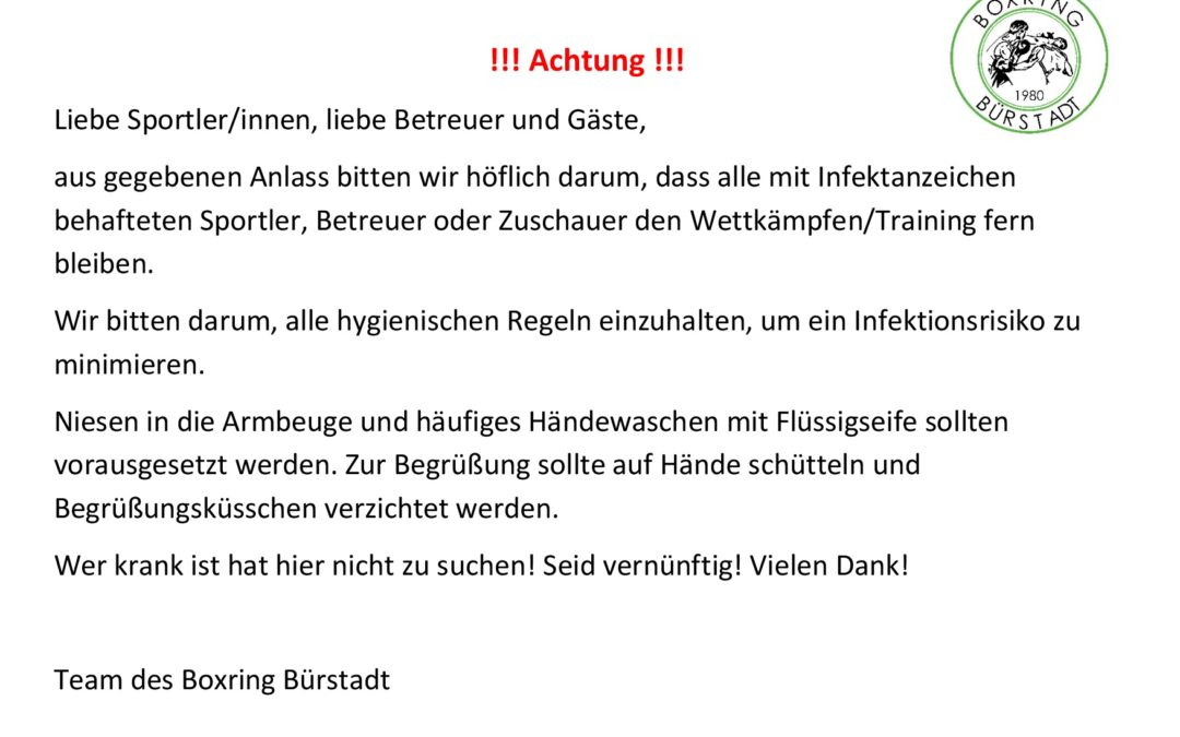 !!! INFO Trainingsbetrieb !!!